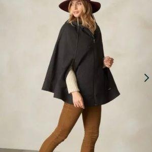 prAna Whitney Cape Coat Small Medium Hooded Wool